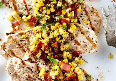 Grilled Scallopine with Corn Bacon Sauté