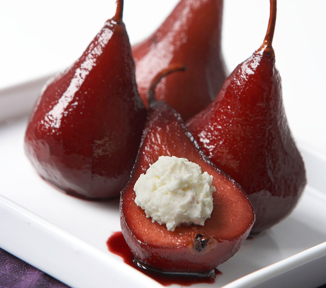 Red Wine Poached Pear with Goat Cheese - Ontario Farm Fresh
